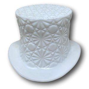 Fenton White Milk Glass Daisy Button Top Hat
